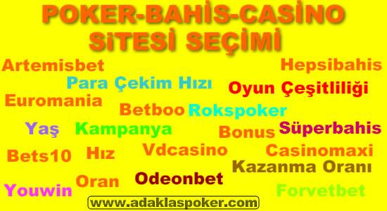 Poker-Casino-Bahis Seçimi